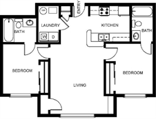 2 Bedrooms with 2 Baths