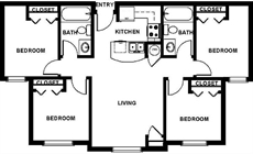 4 Bedrooms with 2 Baths